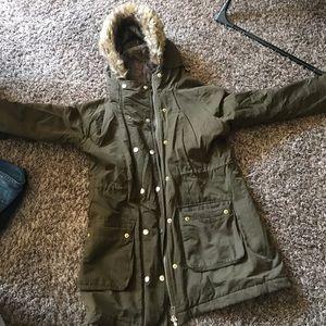 Fur olive coat